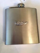 RIB Inflatable Boat PP-U10 english pewter 6oz Stainless Steel Hip Flask