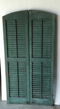 Pair Vtg Arch Top House Window Wood Louvered Shutters Shabby 18x72 Old 1003-16