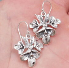 1 PAIR ELEGANT ARTISAN ORCHID FLOWER WOMENS EARRINGS 925 STERLING SOLID SILVER