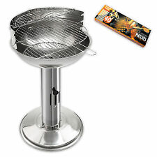 Stainless steel Column grill Ø 40 cm + XL matches Standing Charcoal Barbecue BBQ