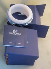 SWAROVSKI GINSENG MILKY WHITE GLASS BANGLE W/ MULTI BLUE CRYSTALS - NIB W/ CERT