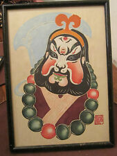 vintage chinese original cut out paper opera mask portrait painting signed face