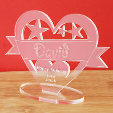 Personalised Name Heart Banner Ornament Keepsake Birthday Congratulations Gift