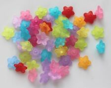 25  Mixed Flower Frosted Acrylic Beads 10x4mm Jewelrys Finding  Spacer Charm