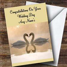 Swans Personalised Wedding Day Greetings Card