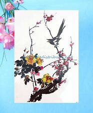 """US Seller-fake body watercolor bird flower 8.25"""" large temporary arm tattoo"""