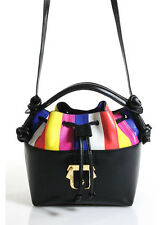 NEW PAULA CADEMARTORI Black Multicolored Leather Gold Tone Eugene Bucket Handbag