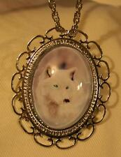 Scallop Looped Rim Icy Wild Snow Wolf Frozen Tundra Pendant Necklace Brooch Pin