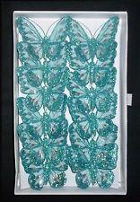 8cm x12 - Decorative Glitter Jewelled Clip-on Butterfly Butterflies Wedding