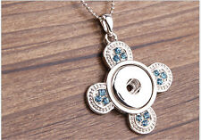 NEW Sky blue Crystal Alloy Pendant for Fit Noosa Necklace Snap Chunk Button DR91