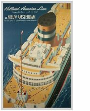 Holland America Line SS Nieuw Amsterdam Poster LARGE