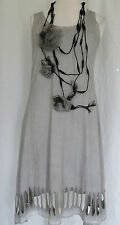 FAB SOFT GREY KAMUFLAGE GERMAN DESIGNER COTTON ASYMMETRIC DRESS SZ M/L