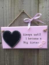 Personalised Big Sister Brother Countdown Chalkboard Plaque Sign Gift Present
