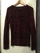 LADIES RED AND BLACK LEOPARD PRINT QUIRKY JUMPER SIZE 12 UNIQUE