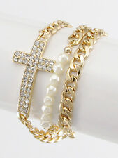 Gold and Cream Pearl Rhinestone Cross Wrap Bracelet