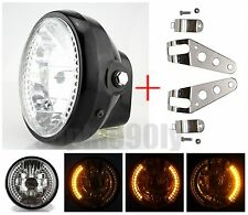 "7"" Motorcycle Headlight Project Amber LED Turn Signal Chrome Head Light Bracket"