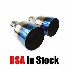 "2PCs Blue Burnt Straight Cut Exhaust Pipe Tips 2.5"" Inlet 4"" Outlet Stainless"