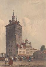 Danzig/Gdansk schöner dekorativer, altcolorierter Stich Stockturm ~ 1835