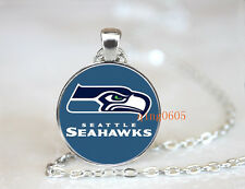 Seattle Seahawks football NFL Glass Cabochon Chain Pendant Necklace Jewelry NEW