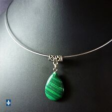 ♥ Adorable Malachite Drop Pendant & Stainless Steel Choker Necklace