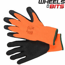 12 PAIRS Large Size 9 HI VIZ THERMAL WINTER BUILDERS LATEX RUBBER WORK GLOVES