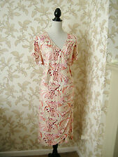 22 COOL VISCOSE MOCK WRAP DRESS PEACH & CREAM PARTY WEDDING HOLIDAY DAY WEAR