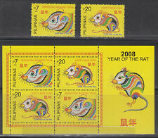 Philippine Stamps 2007 (2008 Year of the Rat set & Souvenir sheet) complete NNH