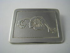 "A HANDCRAFTED ARTISAN STERLING SILVER BROOCH PIN ETCHED SILVER ""Flover"" ca1960's"