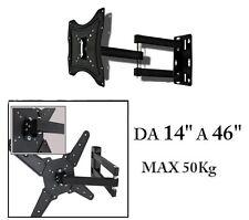 """STAFFA PORTA TV MONITOR DA 14"""" A 46"""" SUPPORTO PARETE BRACCIO 360° FINO 50KG __"""