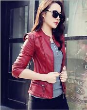 2016 Female New Slim Pu Leather Motorcycle Jacket Women Short Jacket