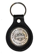 Harley-Davidson Bar & Shield Black Leather Medallion Key Ring K78H