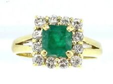 1 .60 CTW NATURAL EMERALD & DIAMOND SQUARE HALO RING IN 18K YELLOW GOLD SZ 6.75
