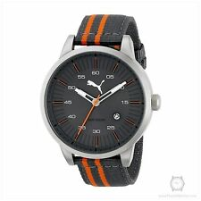 NEW Puma PU103641004 Mens Sunburst Dial Orange and Grey Stripe Nylon Strap Watch