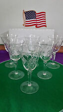 FINE DEP CUT 6 SIDER LONG STEM 6 OZ. WINE GLASS SET OF 6 ( NEAR MINT ).