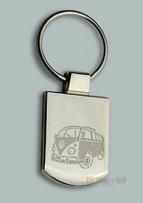 Engraved VW CAMPER +  your text - Free Personalised Metal Keyring Boxed