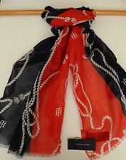 Tommy Hilfiger ladies scarf navy blue red cream rope design NEW womens