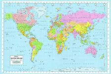 Large WORLD MAP POSTER LAMINATED Classic WALL CHART POLITICAL ATLAS 36x24inch