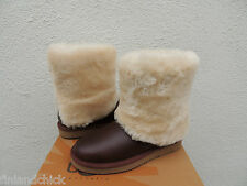 UGG PATTEN CHESTNUT WATER-RESISTANT LEATHER SHEEPSKIN CUFF BOOTS, US 9/ 40 ~NEW