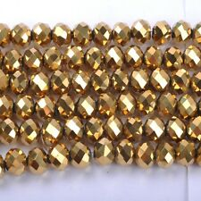 20pcs Gold Top Quality Czech Crystal Faceted Rondelle Beads 10X8MM