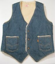VTG Levi's Sherpa Lined Blue Denim Jean Hipster Rockabilly Vest size M men's