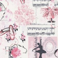 Ballet Collage 100% Cotton Fabric - Pink - Children 1/2 mtr Timeless Treasures