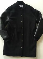 T BY ALEXANDER WANG BLACK WOOL AND LEATHER BOMBER JACKET COAT SIZE 2