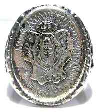 RARE MEXICO MEXICAN BIKER RING STERLING SILVER DRAGON SHIELD CREST BAND SZ 12.5