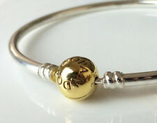 PANDORA Silver Bangle Bracelet 17cm 24K Gold Plated Clasp 590713-17 Authentic