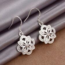 New Women Charm Jewelry 925 Sterling Silver Plated Flower Dangle Hook Earrings