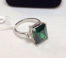 GORGEOUS Emerald Cut Emerald & White Sapphire Sterling Silver Ring Sz 6.5 NWT