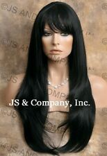 HUMAN HAIR Blend Long Straight Black Layered Sides wig Flat Iron WBTO 1