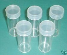 5 COIN TUBES Quarter Round Clear Polystyrene