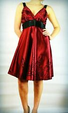 Size 8-10 Red and Black dress Wedding Prom Party Cruise Worn once! Flock Pattern