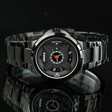 INFANTRY Mens Quartz Wrist Watch Police Style Army Black X Dial Stainless Steel
